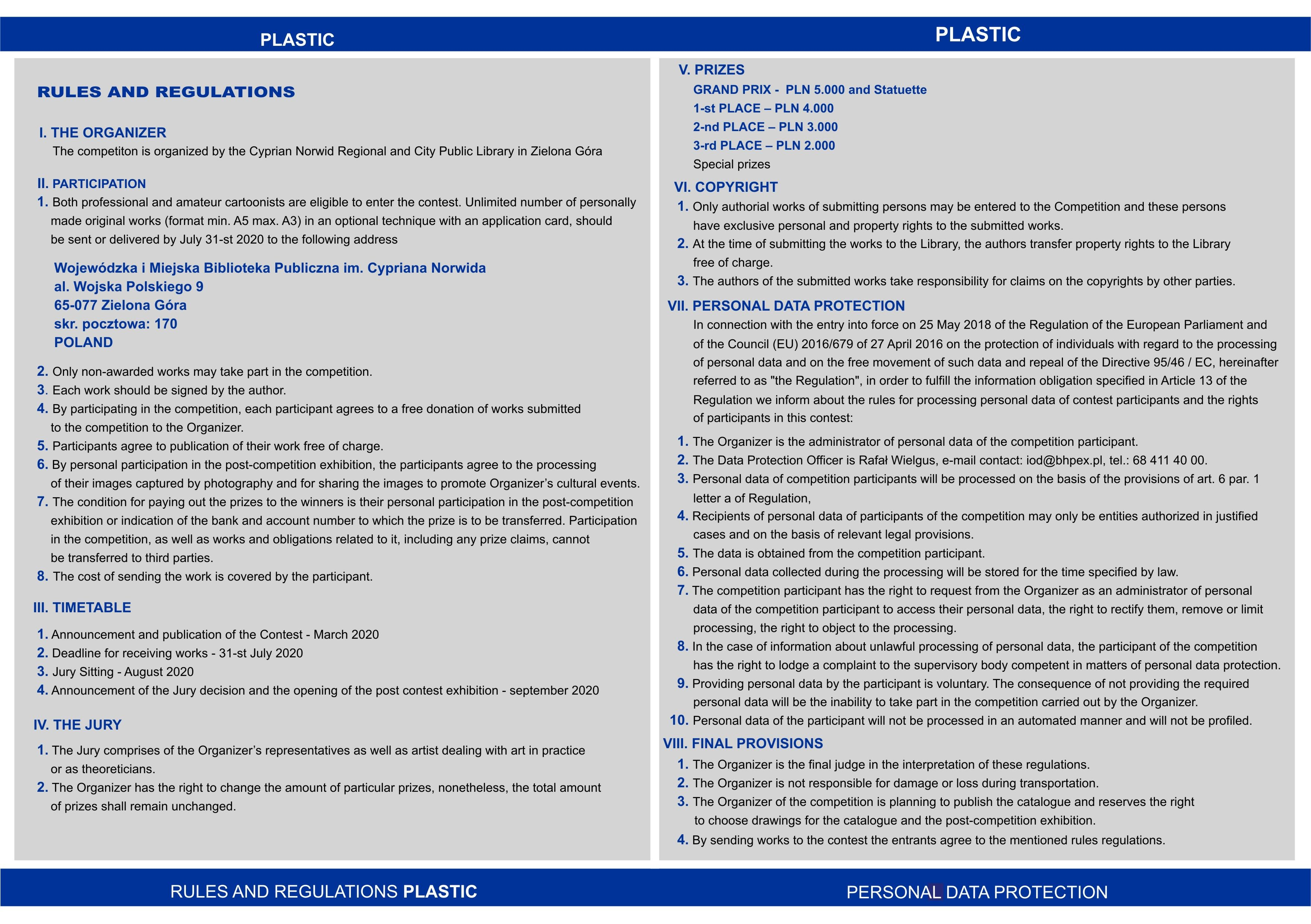 rules and regulations-PLASTIC